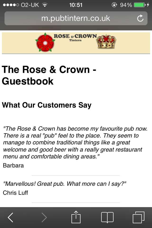 image showing The new Rose & Crown mobile website